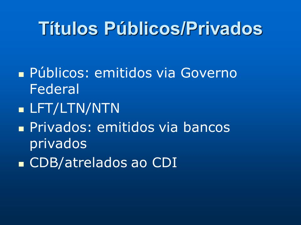 Títulos Públicos/Privados