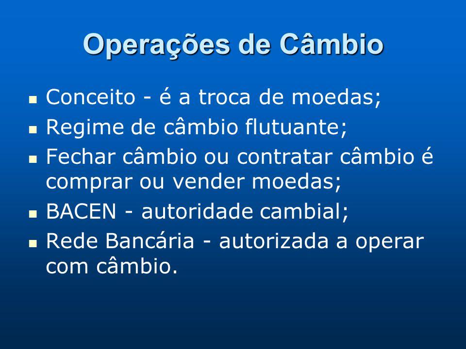 Operações de Câmbio Conceito - é a troca de moedas;