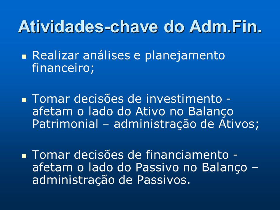 Atividades-chave do Adm.Fin.