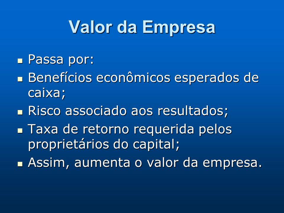 Valor da Empresa Passa por: Benefícios econômicos esperados de caixa;