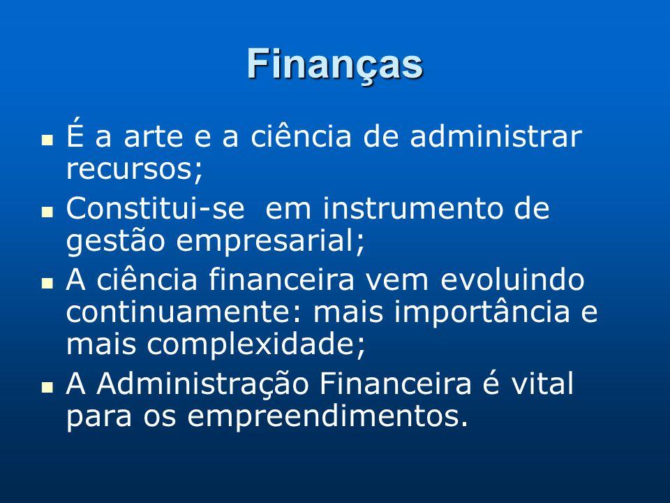 Finanças É a arte e a ciência de administrar recursos;