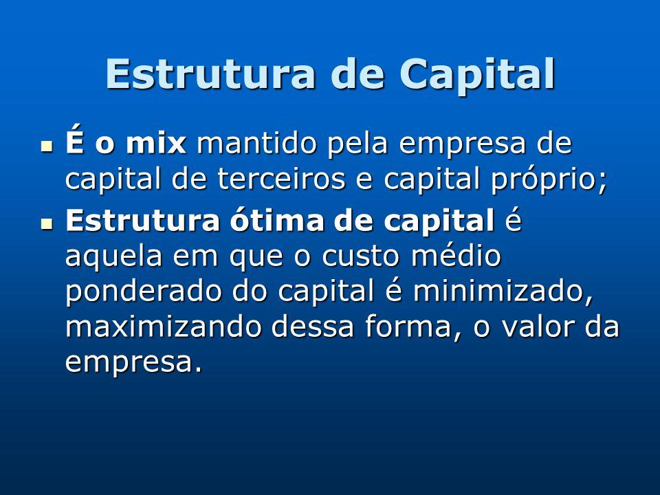 Estrutura de Capital É o mix mantido pela empresa de capital de terceiros e capital próprio;