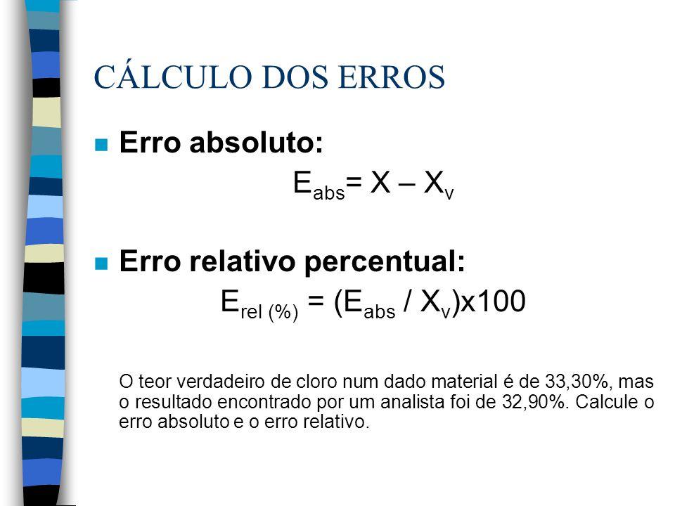 CÁLCULO DOS ERROS Erro absoluto: Eabs= X – Xv