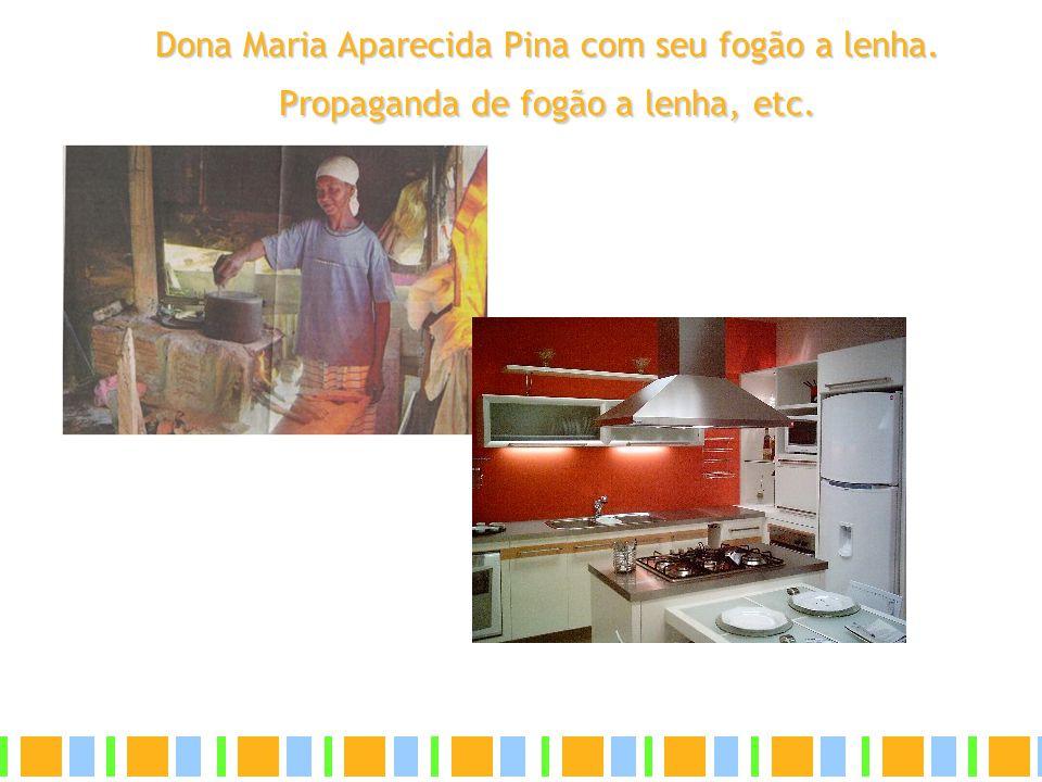 Dona Maria Aparecida Pina com seu fogão a lenha