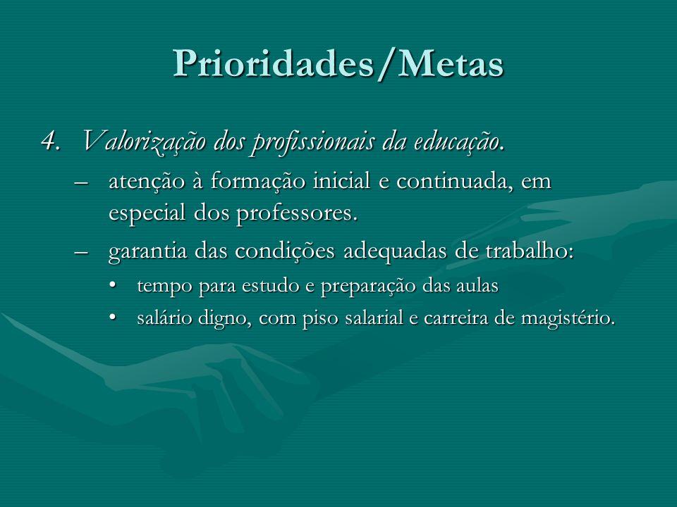 Prioridades/Metas Valorização dos profissionais da educação.