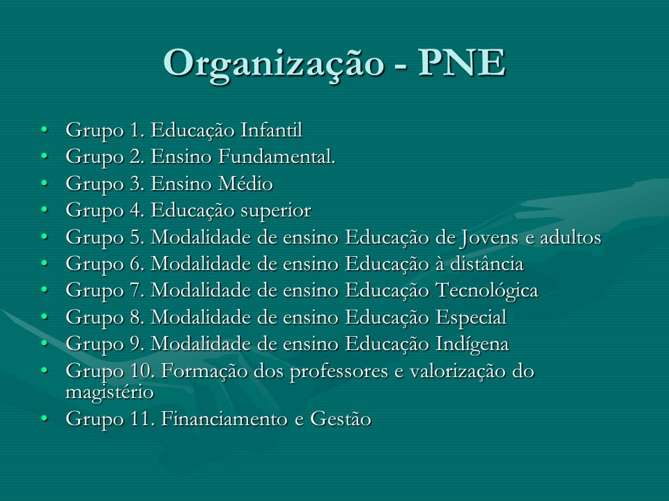 Organização - PNE Grupo 1. Educação Infantil