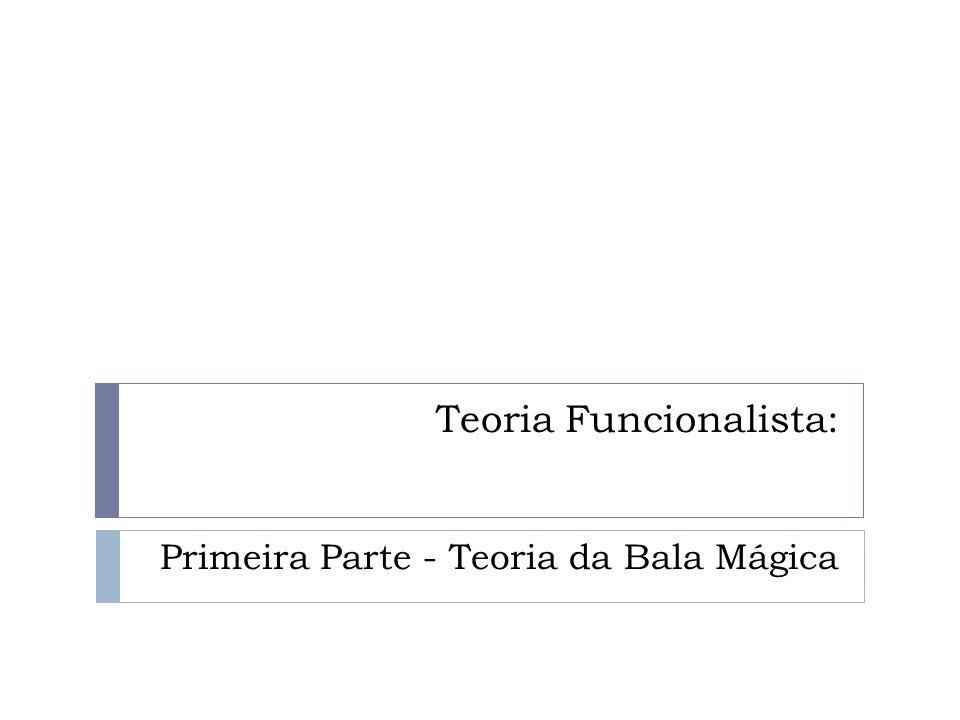 Teoria Funcionalista: Primeira Parte - Teoria da Bala Mágica