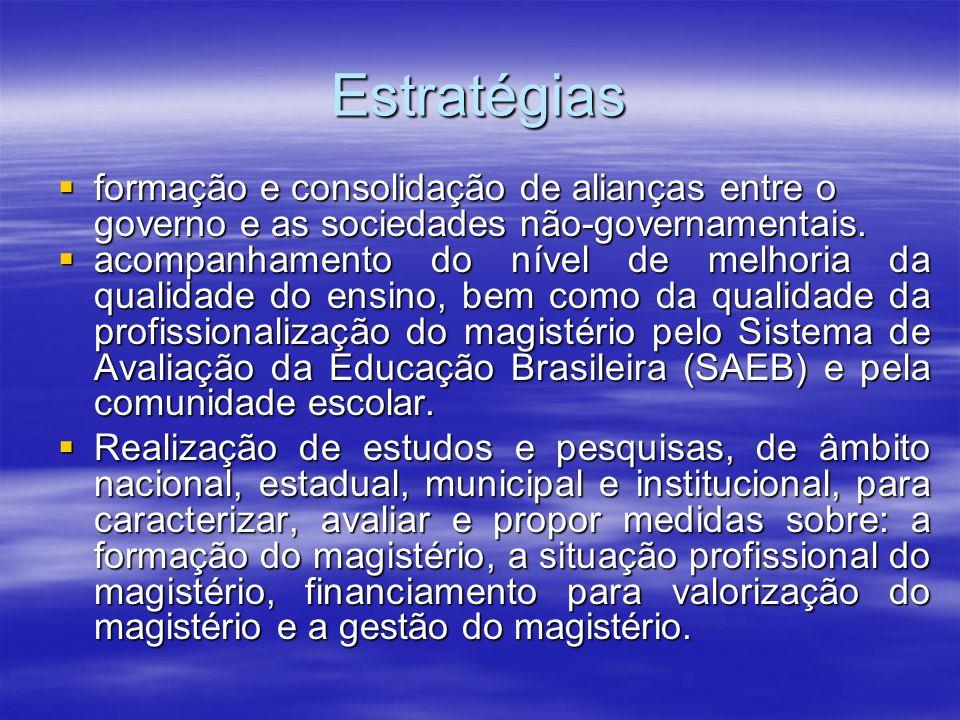 Estratégias formação e consolidação de alianças entre o governo e as sociedades não-governamentais.
