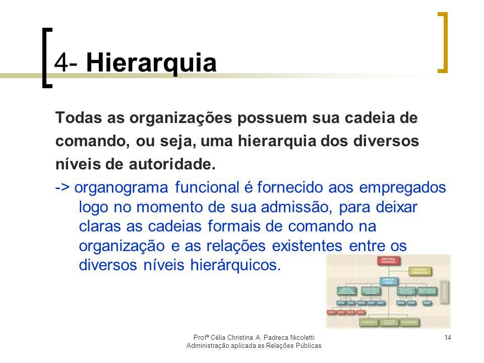 4- Hierarquia Todas as organizações possuem sua cadeia de