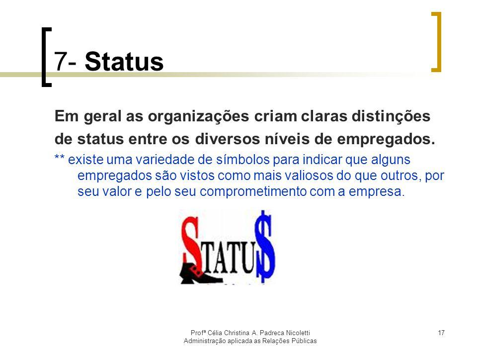 7- Status Em geral as organizações criam claras distinções