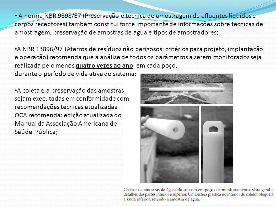 A norma NBR 9898/87 (Preservação e técnica de amostragem de efluentes líquidos e corpos receptores) também constitui fonte importante de informações sobre técnicas de amostragem, preservação de amostras de água e tipos de amostradores;