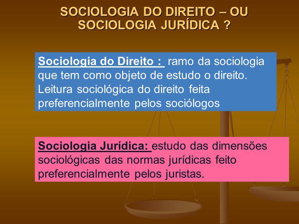 SOCIOLOGIA DO DIREITO – OU SOCIOLOGIA JURÍDICA