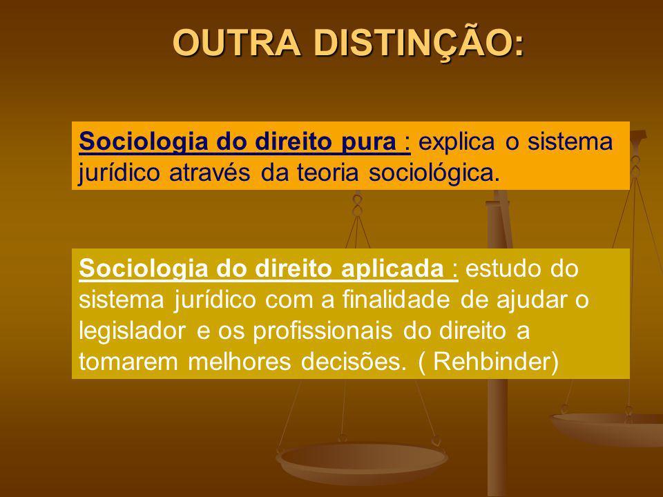 OUTRA DISTINÇÃO: Sociologia do direito pura : explica o sistema jurídico através da teoria sociológica.