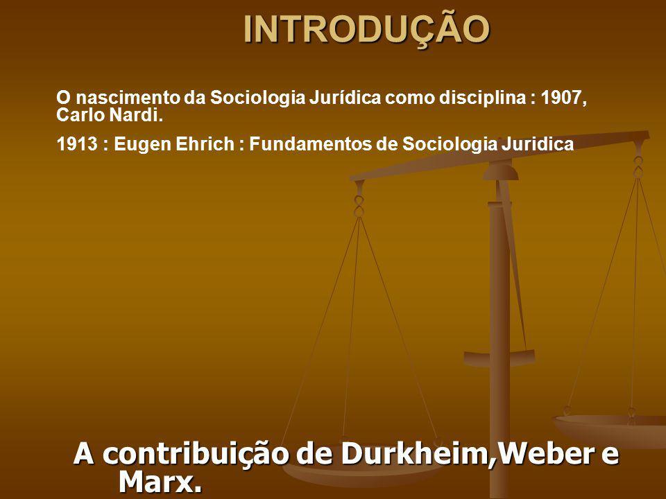 INTRODUÇÃO A contribuição de Durkheim,Weber e Marx.