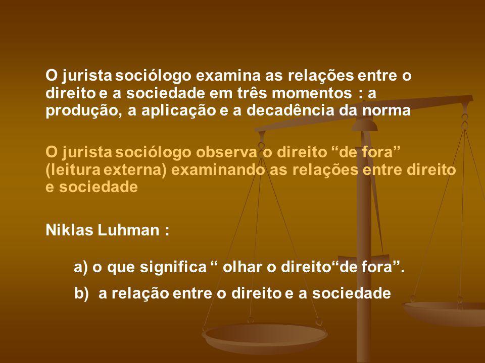 O jurista sociólogo examina as relações entre o direito e a sociedade em três momentos : a produção, a aplicação e a decadência da norma