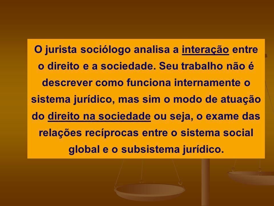 O jurista sociólogo analisa a interação entre o direito e a sociedade