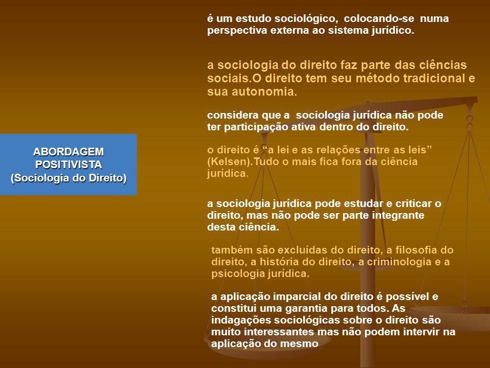 ABORDAGEM POSITIVISTA (Sociologia do Direito)