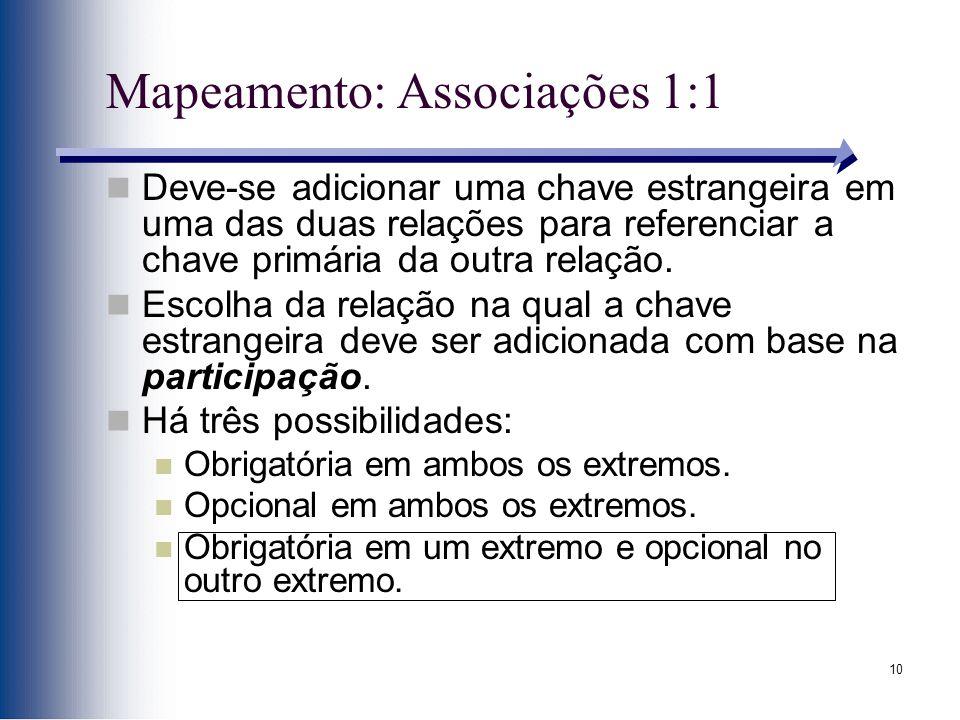 Mapeamento: Associações 1:1
