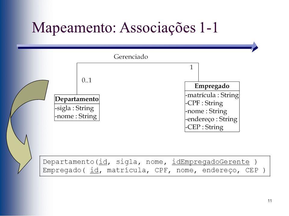 Mapeamento: Associações 1-1