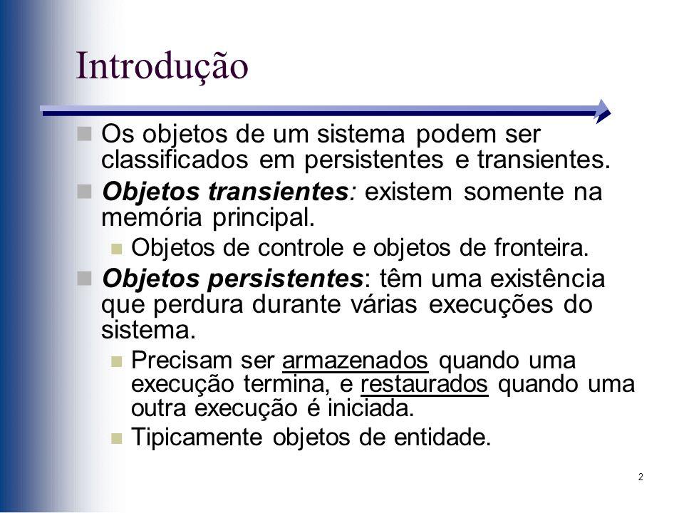 Introdução Os objetos de um sistema podem ser classificados em persistentes e transientes.