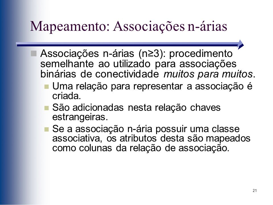 Mapeamento: Associações n-árias