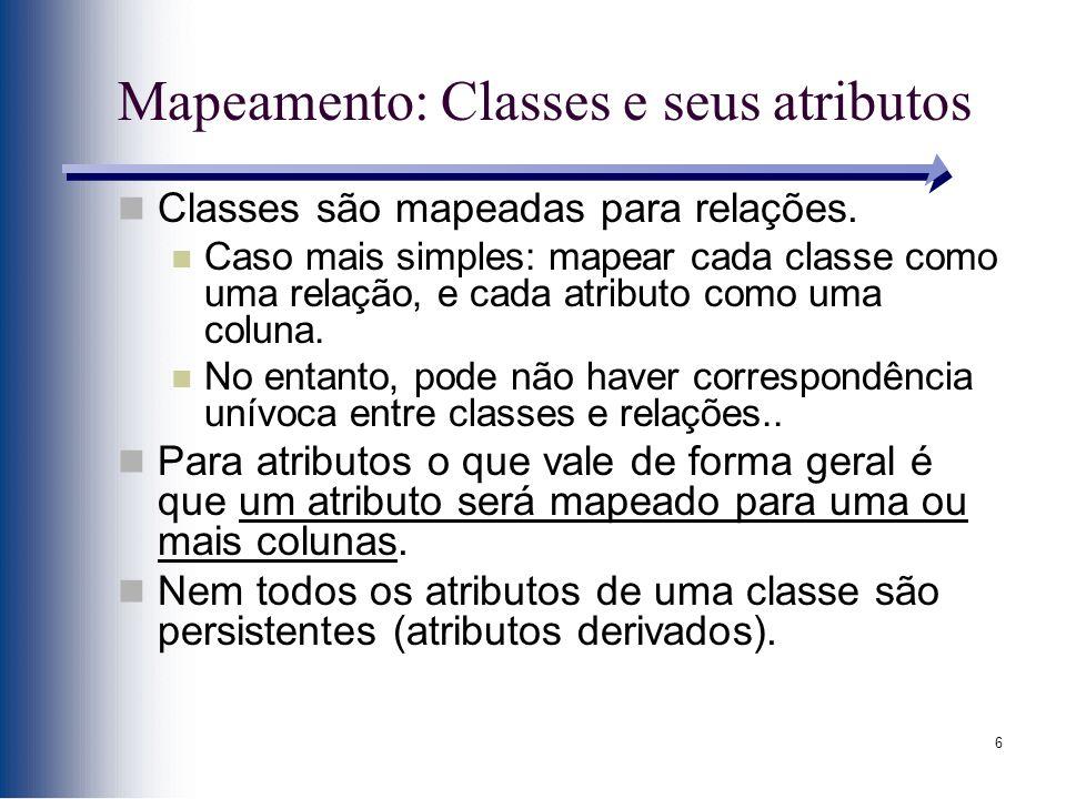 Mapeamento: Classes e seus atributos