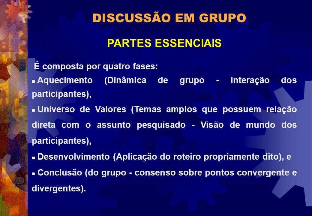 DISCUSSÃO EM GRUPO PARTES ESSENCIAIS