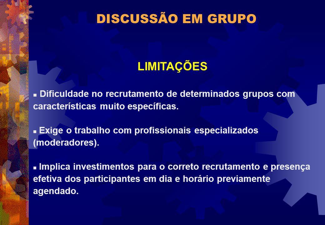 DISCUSSÃO EM GRUPO LIMITAÇÕES