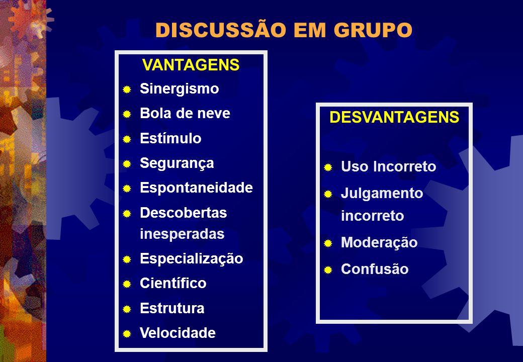 DISCUSSÃO EM GRUPO VANTAGENS DESVANTAGENS Sinergismo Bola de neve