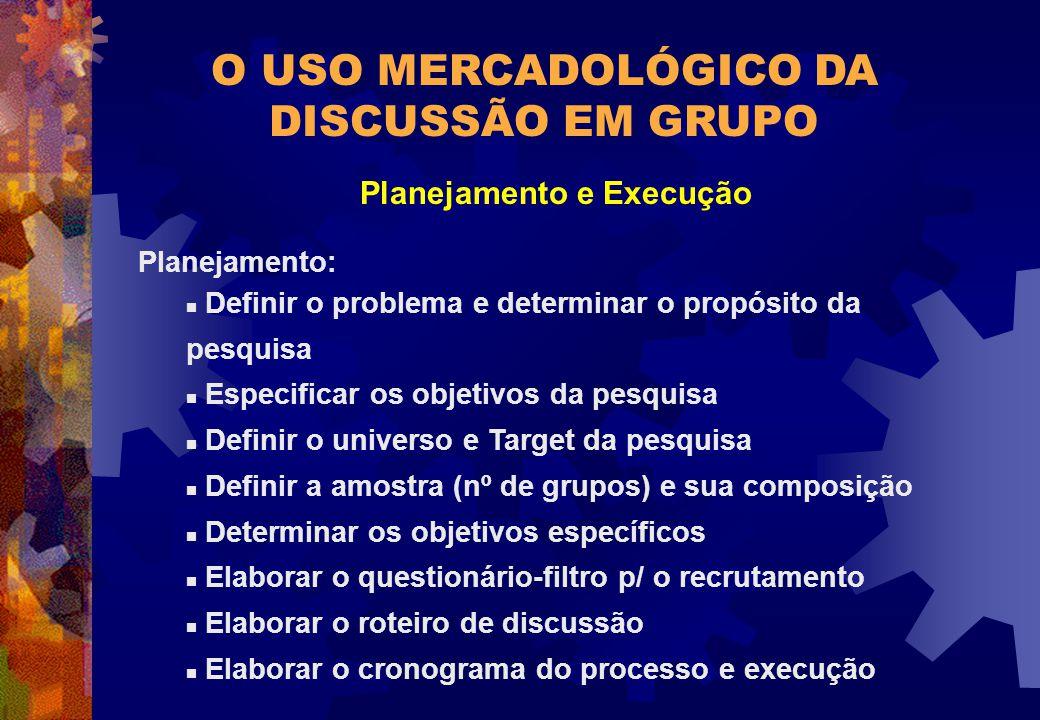 O USO MERCADOLÓGICO DA DISCUSSÃO EM GRUPO Planejamento e Execução