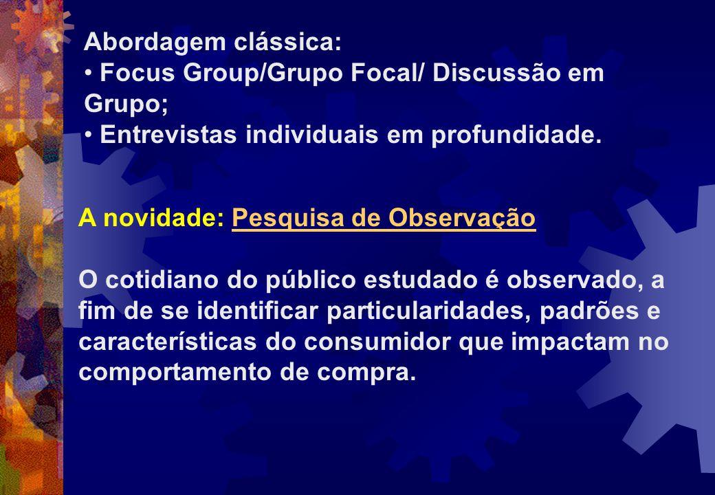 Abordagem clássica: Focus Group/Grupo Focal/ Discussão em Grupo; Entrevistas individuais em profundidade.