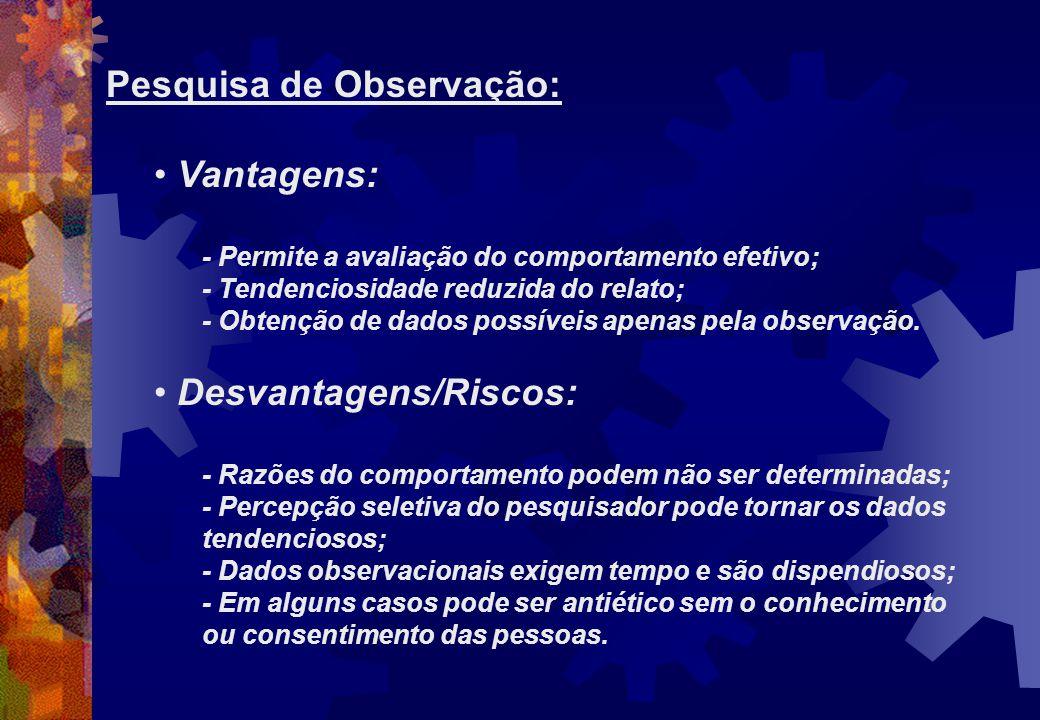 Pesquisa de Observação: Vantagens: