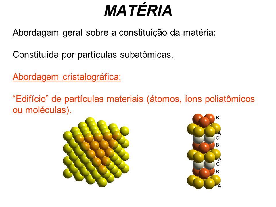 MATÉRIA Abordagem geral sobre a constituição da matéria: