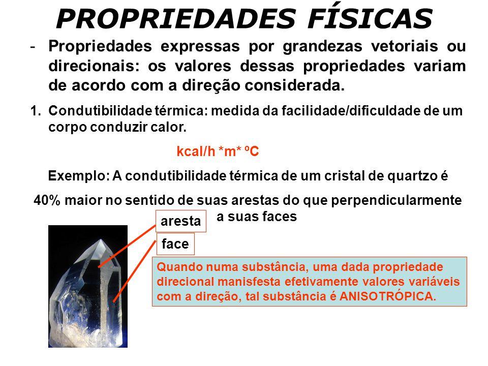 Exemplo: A condutibilidade térmica de um cristal de quartzo é