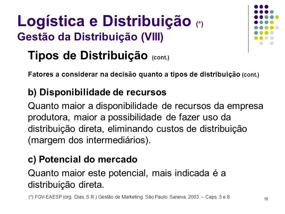 Logística e Distribuição (*) Gestão da Distribuição (VIII)