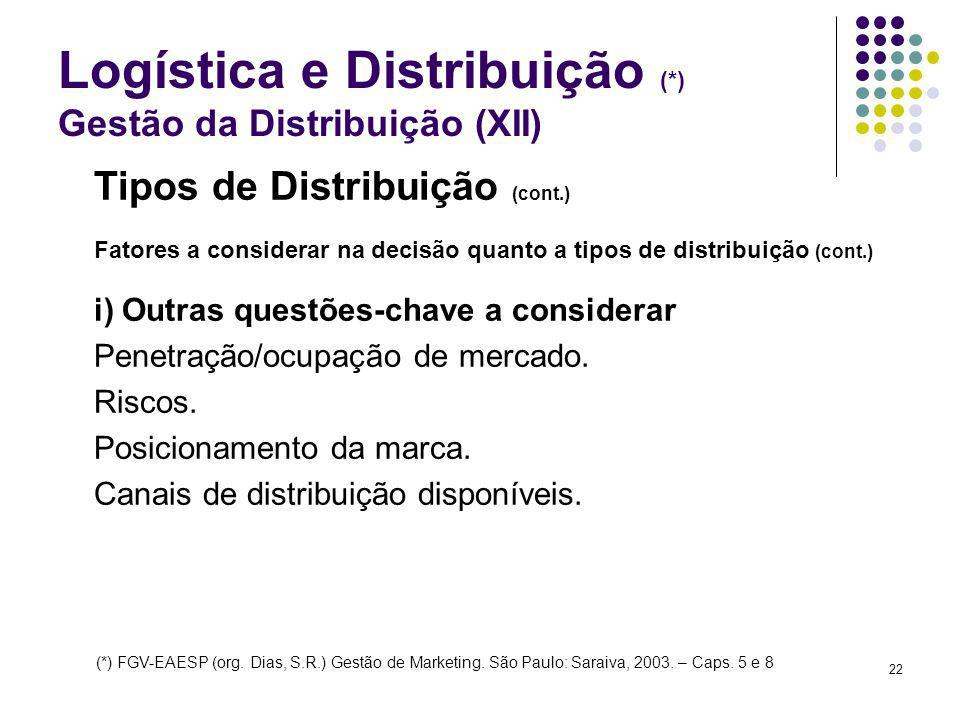 Logística e Distribuição (*) Gestão da Distribuição (XII)