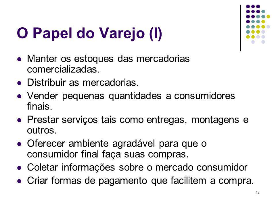 O Papel do Varejo (I) Manter os estoques das mercadorias comercializadas. Distribuir as mercadorias.