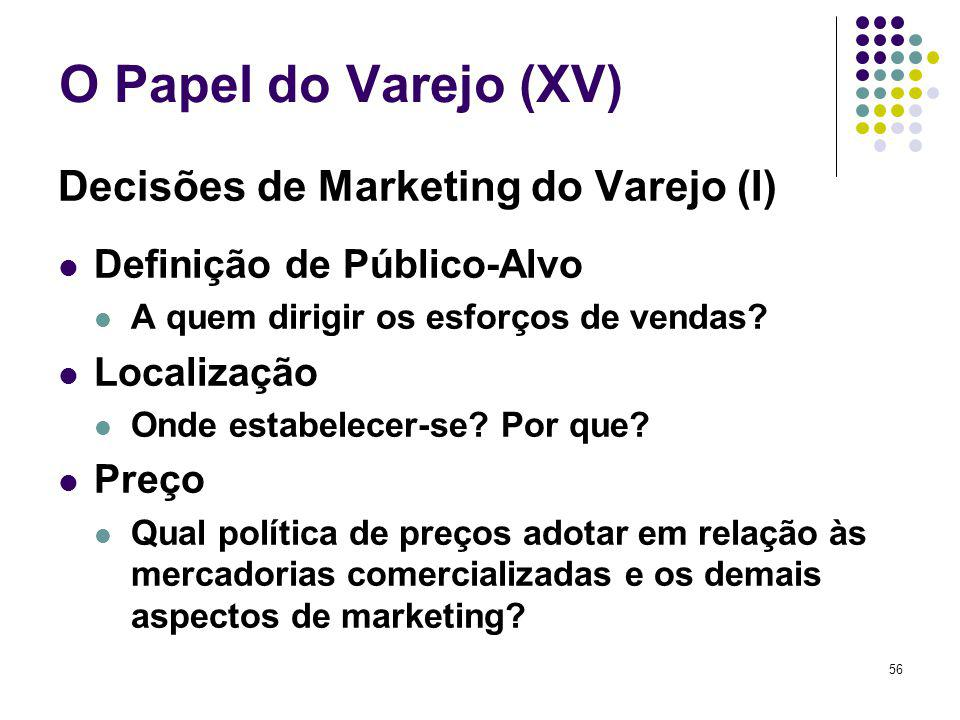 O Papel do Varejo (XV) Decisões de Marketing do Varejo (I)