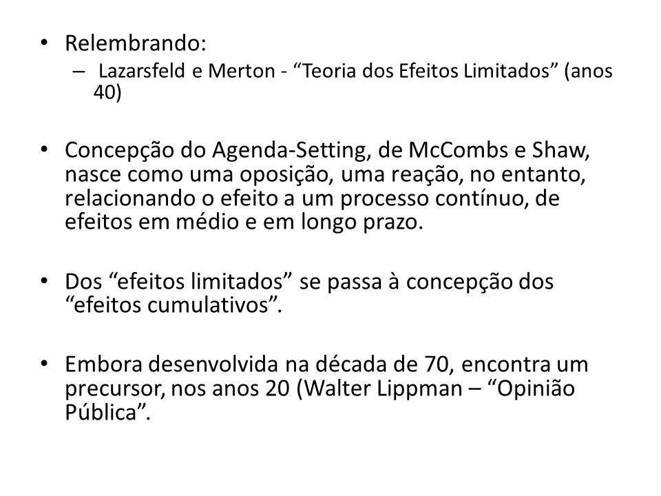 Relembrando: Lazarsfeld e Merton - Teoria dos Efeitos Limitados (anos 40)