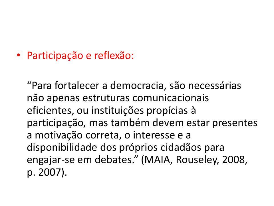 Participação e reflexão: