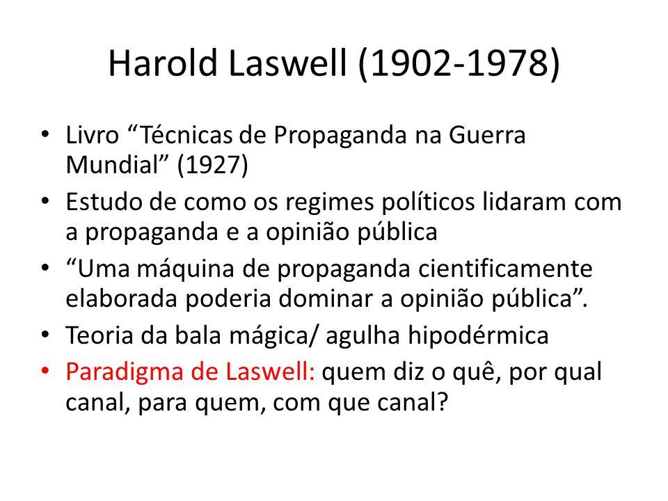 Harold Laswell (1902-1978) Livro Técnicas de Propaganda na Guerra Mundial (1927)