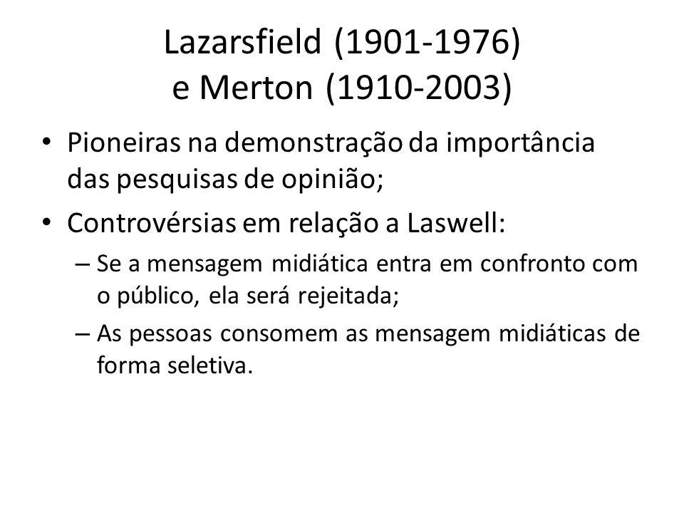 Lazarsfield (1901-1976) e Merton (1910-2003)