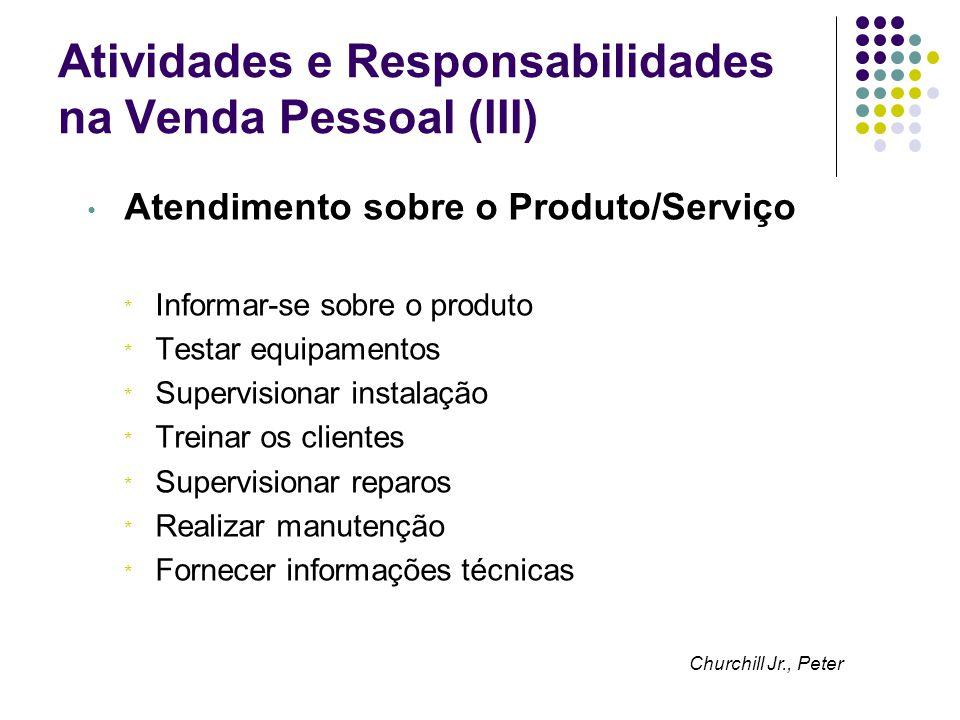 Atividades e Responsabilidades na Venda Pessoal (III)