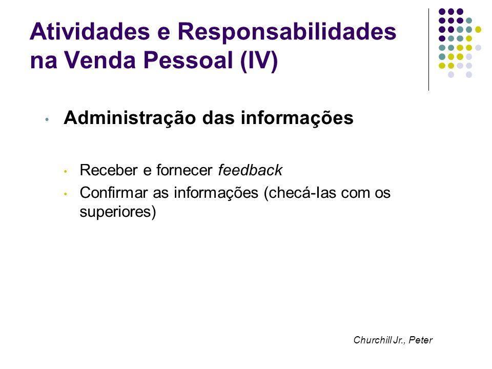 Atividades e Responsabilidades na Venda Pessoal (IV)