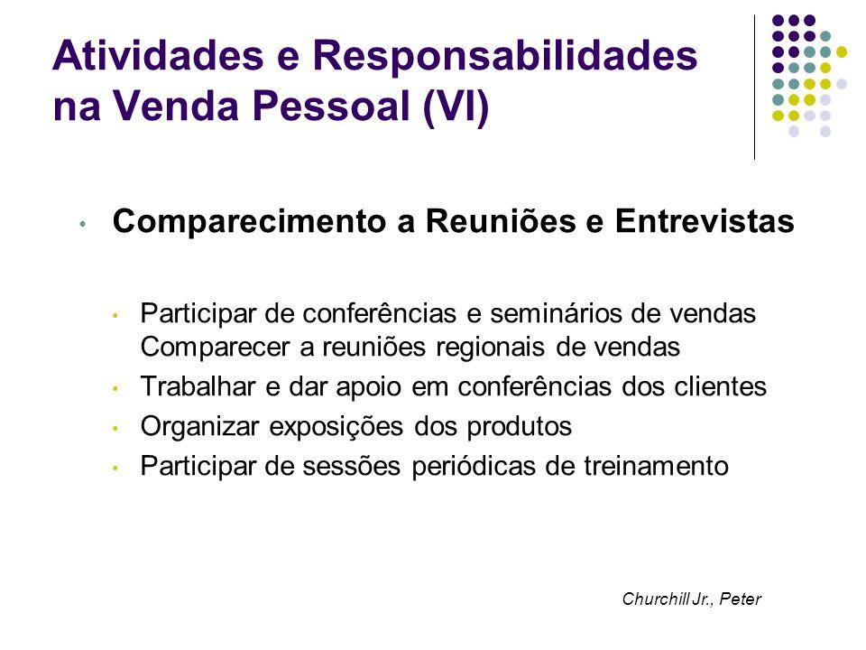 Atividades e Responsabilidades na Venda Pessoal (VI)