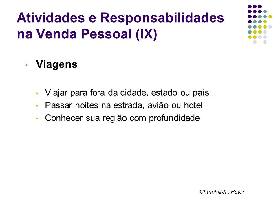 Atividades e Responsabilidades na Venda Pessoal (IX)