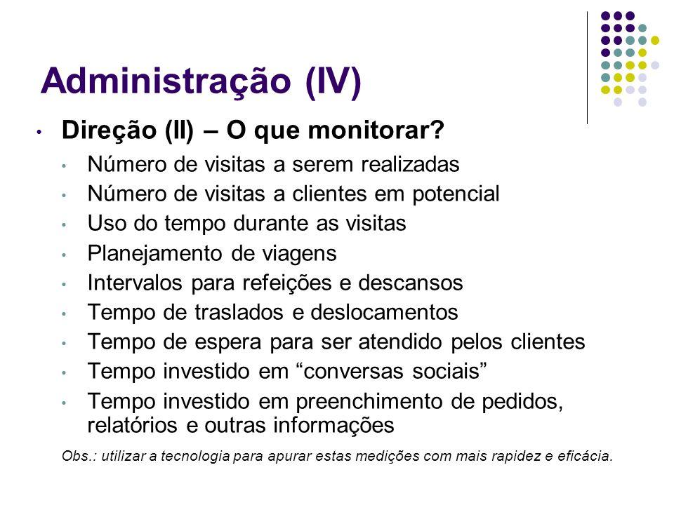 Administração (IV) Direção (II) – O que monitorar