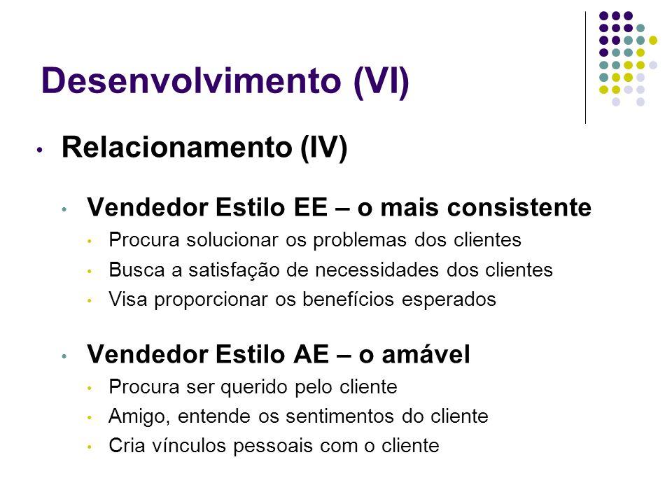 Desenvolvimento (VI) Relacionamento (IV)