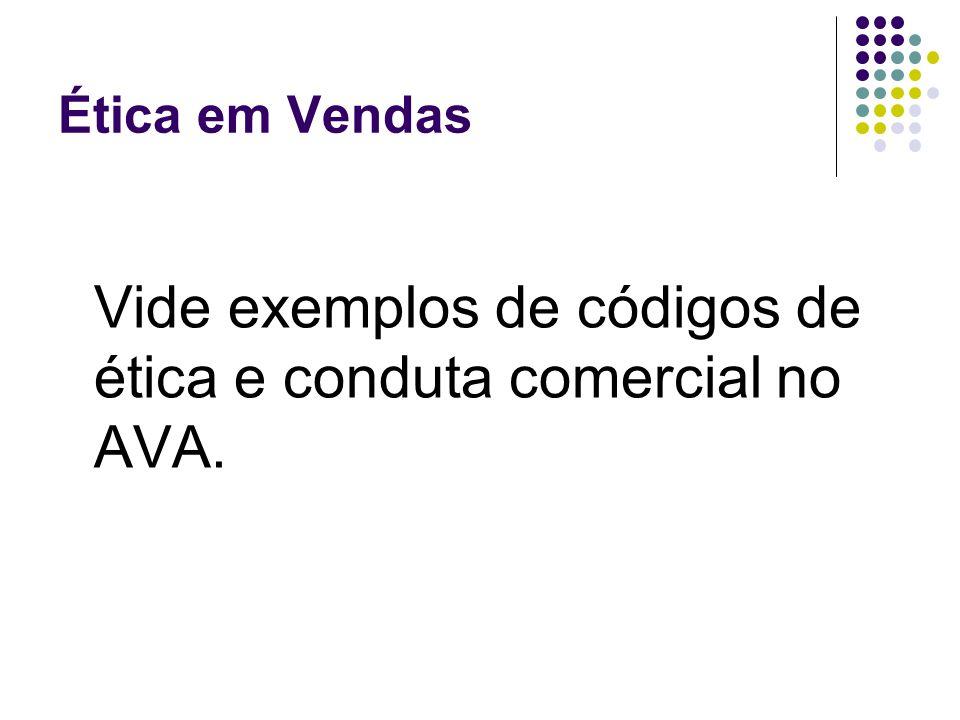 Vide exemplos de códigos de ética e conduta comercial no AVA.