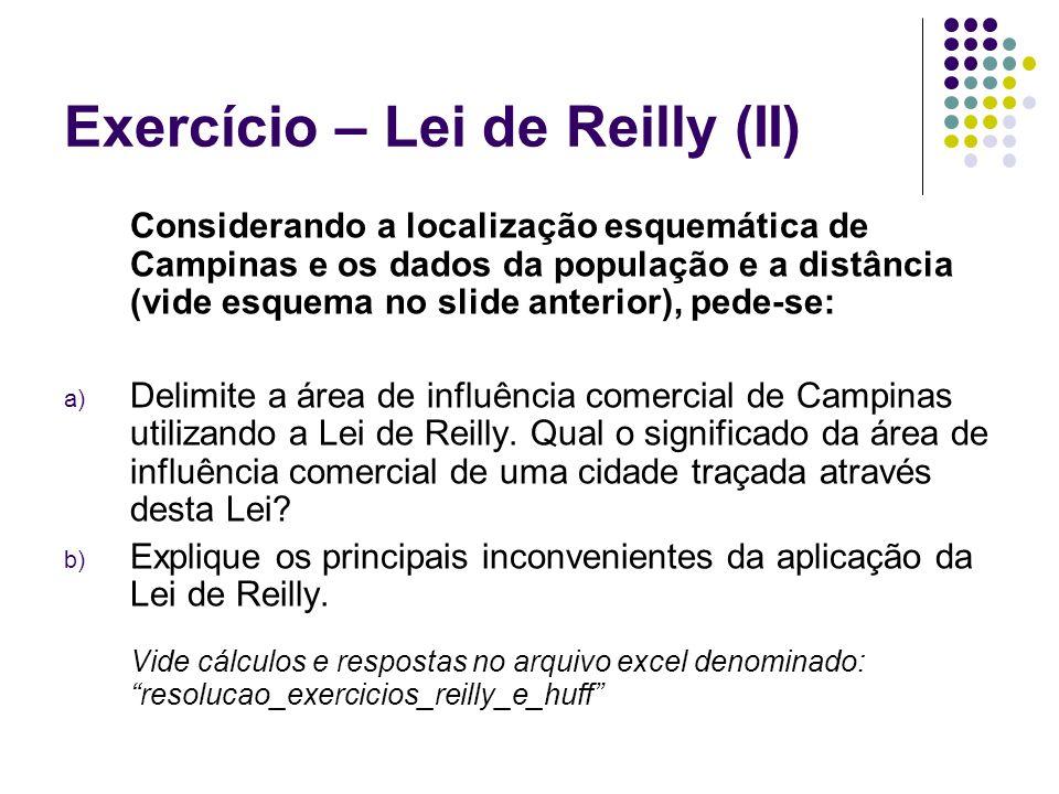 Exercício – Lei de Reilly (II)